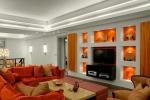 оформление гостиной в красных тонах