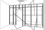 чертеж с размерами гипсокартонной стенки