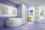 оформление фиолетовой плиткой