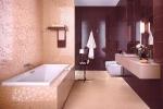 розова бежевый кафель в ванной