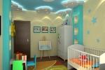 отделка комнаты в синих цветах