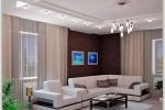 короб и светильники в гостиной