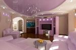 фиолетовый гипсокартонный потолок