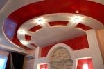 красный стиль потолка из гипсокартона