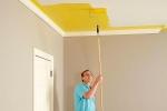 покраска потолка в комнате валиком