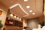 монтаж подсветки на потолке