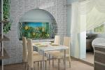 гипсокартонная ниша на кухне с аркой