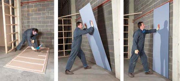 как приклеить гипсокартон к бетону