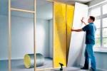 процесс шумоизоляции стенки