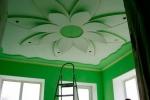 салатовое оформление стен и потолка