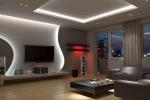 отделка стен и потолка в гостинной