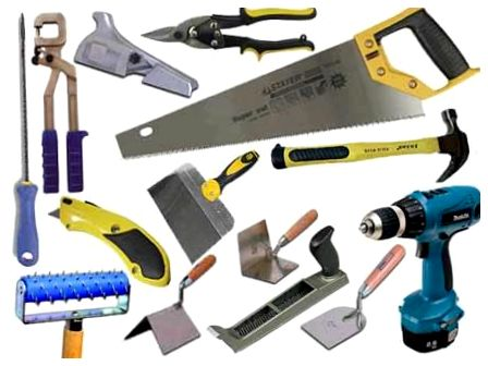 необходимый набор инструментов для монтажа гипсокартона и профилей