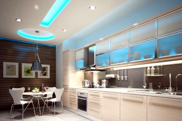 кухня многоуровневый потолок