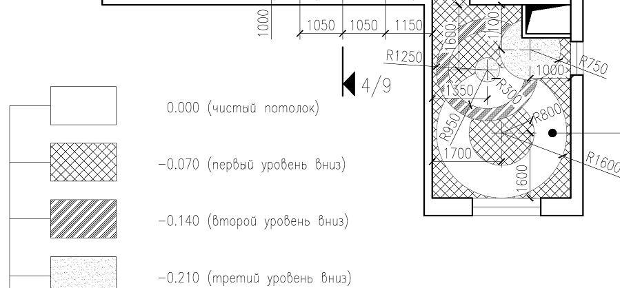 План потолков с размерами и уровнями