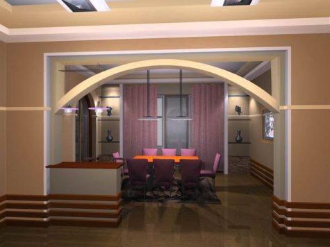 сводчатая арка из гипсокартона между кухней и гостиной