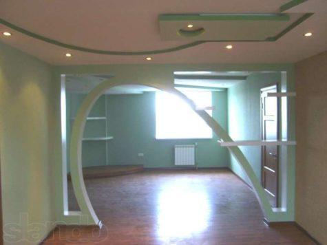 полукруглая арка из гипсокартона с наклоном
