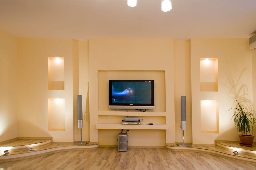 гипсокартонные конструкции под телевизор фото домов сша
