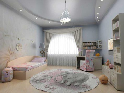 двухуровневый потолок из ГКЛ в детской