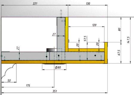 двухуровневый потолок чертеж