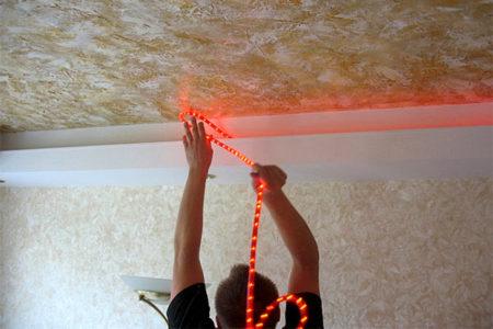 подсветка потолка диоды