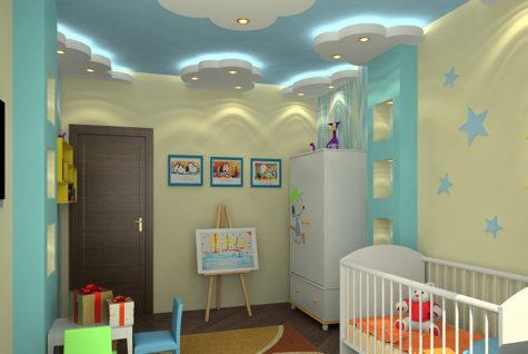 потолок в детской комнате в форме облаков