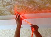 Монтаж двухуровневого потолка из гипсокартона со встроенной подсветкой