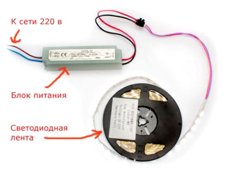 подключение светодиодная лента