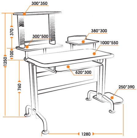компьютерный стол чертеж
