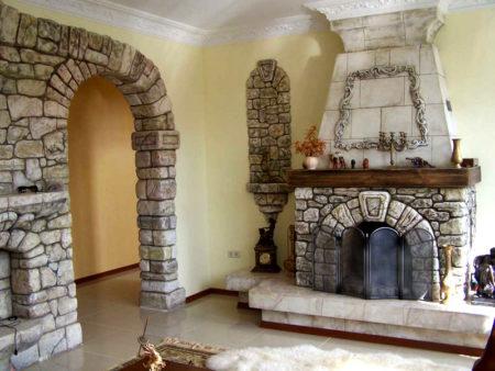 стена гипсокартон натуральный камень