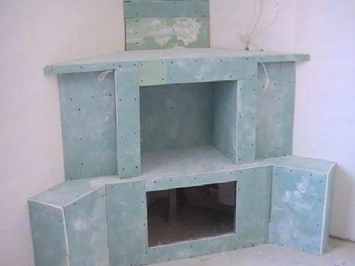обшитый гипсокартоном камин