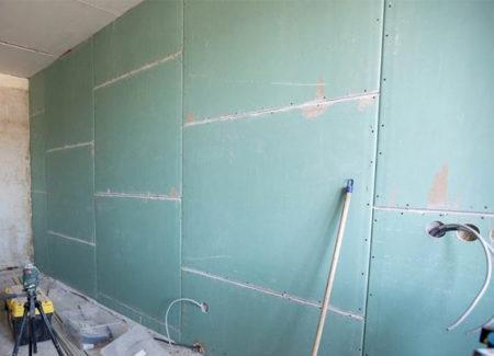 отделка стены гипсокартон