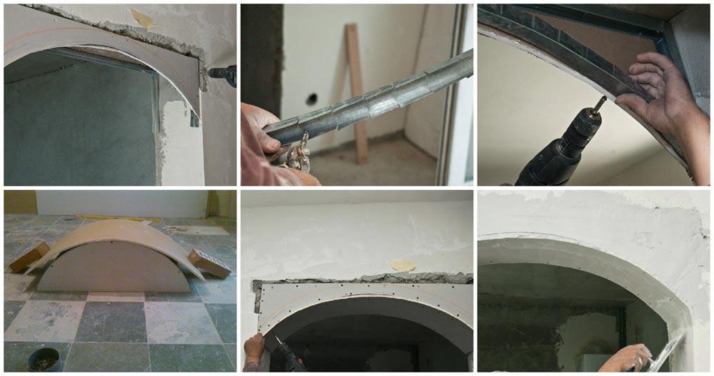монтаж арки из гипсокартона видео