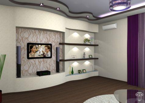 оформленные стены и потолок из гипсокартона