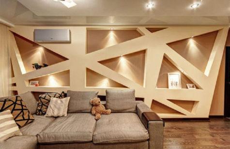 фигурные конструкции из гипсокартона на стенах