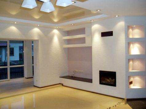 оформленный потолок и стены гипсокартоном в доме