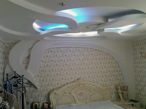 дизайн потолка из гипсократона