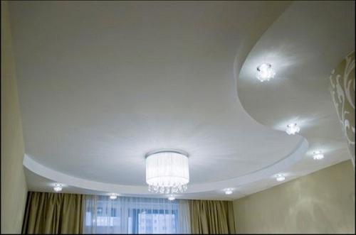 люстра на гипсокартонном потолке