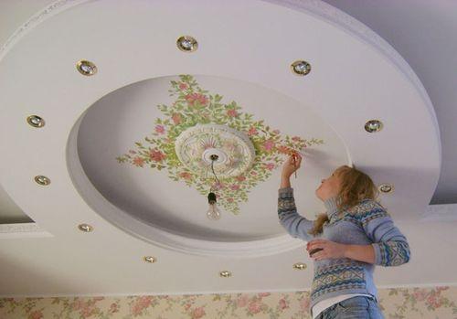 отделка круглого потолка