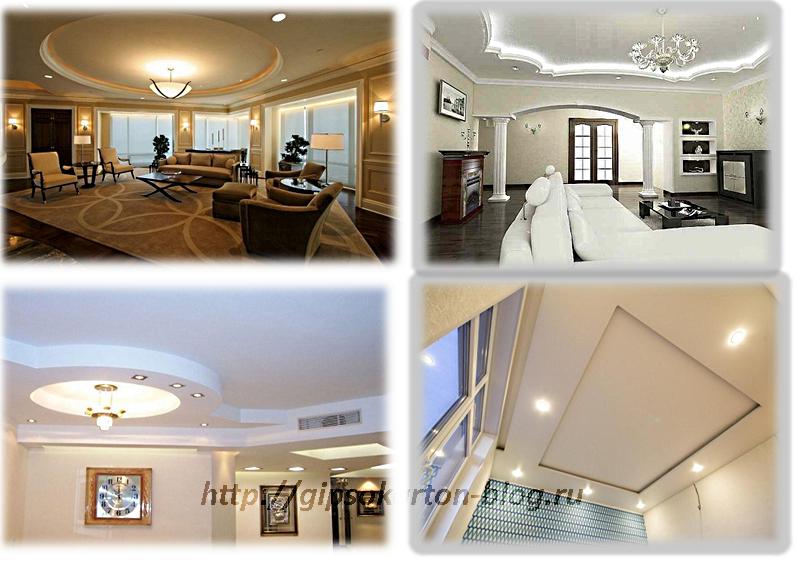 Примеры двухуровневых потолков в интерьере помещения