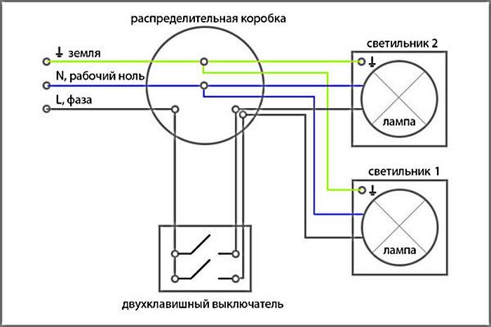 Электро схема подключения светильников к выключателю