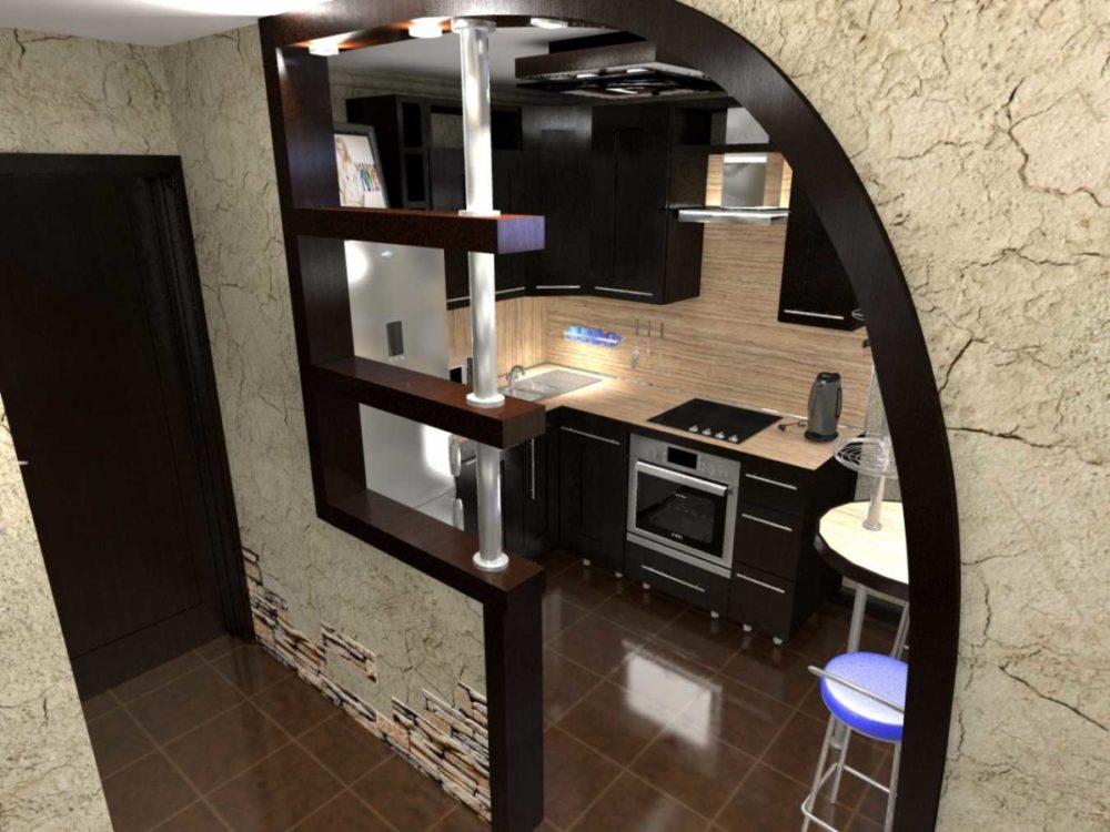 Перегородка с полками для кухни