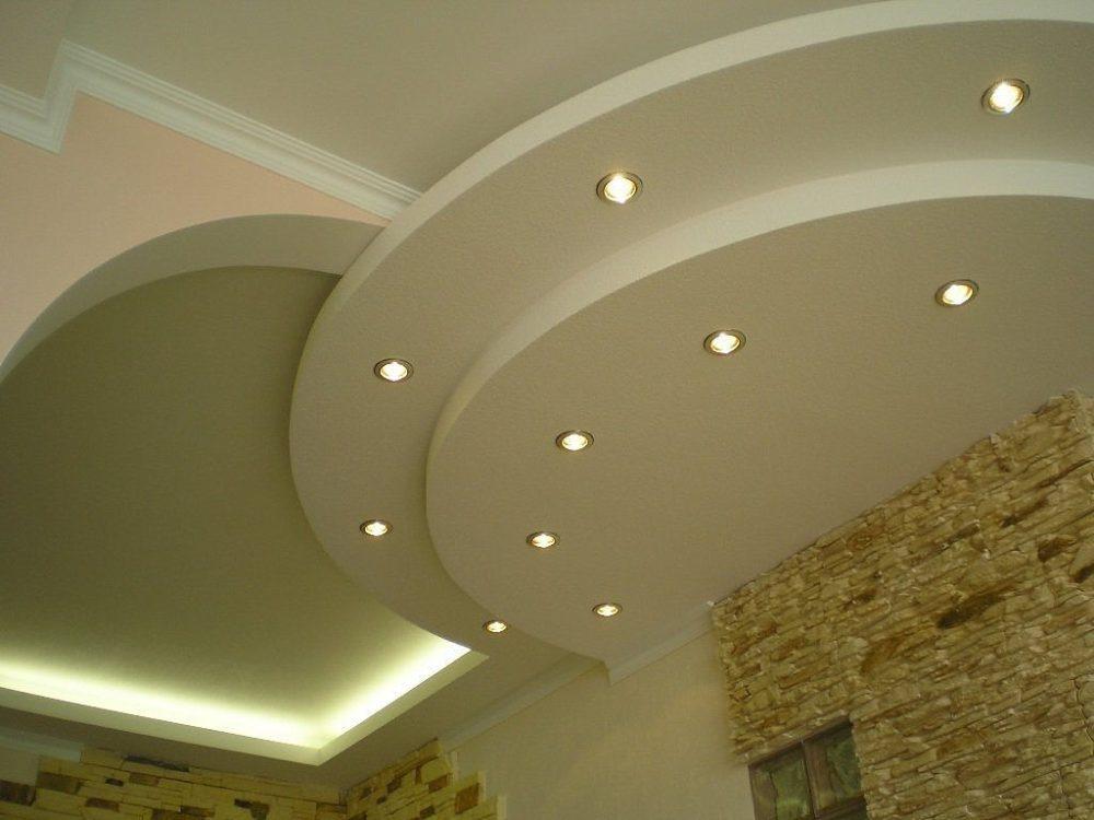 Применение точечных светильников на потолке для зониирования