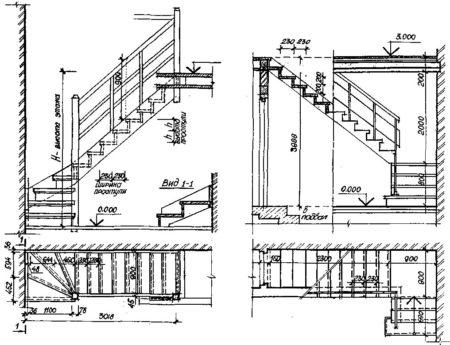 чертеж лестница
