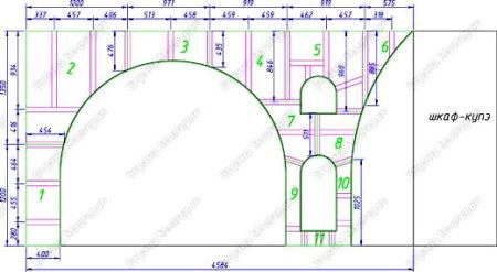 чертеж арка полки