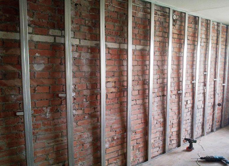 Каркасная система для обшивки стены гипсокартоном
