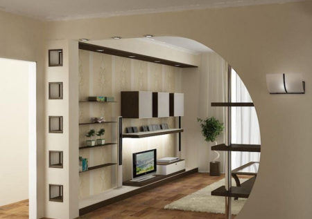 Пример перегородки из гипсокартона между комнатами