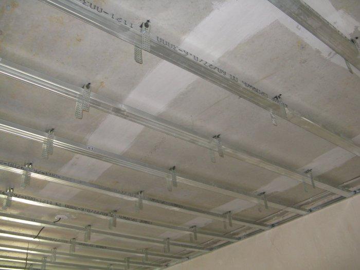 Металлический каркас для гипсокартона на потолке