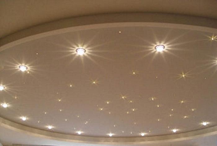 Точечные светильники на потолке с применением диодов