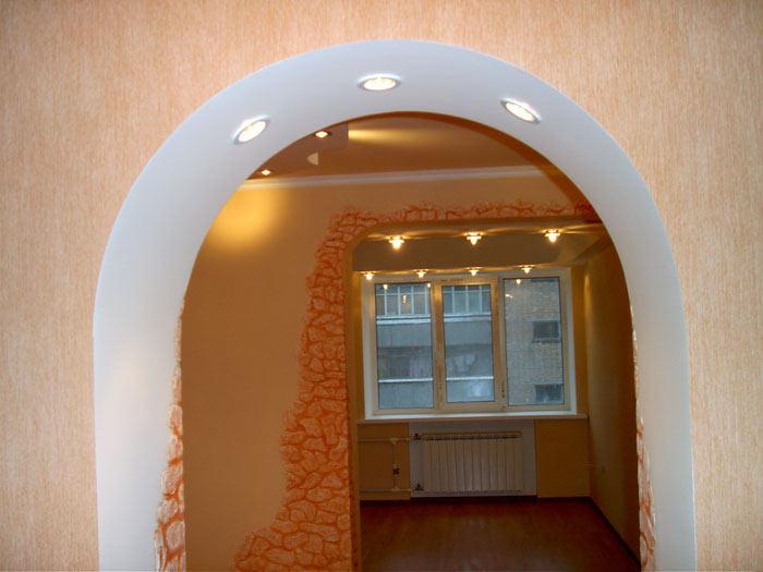 Точечные светильники как подсветка арки