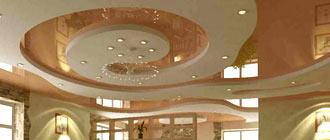 Оформление дизайна комбинированных потолков из ГКЛ и натяжного полотна